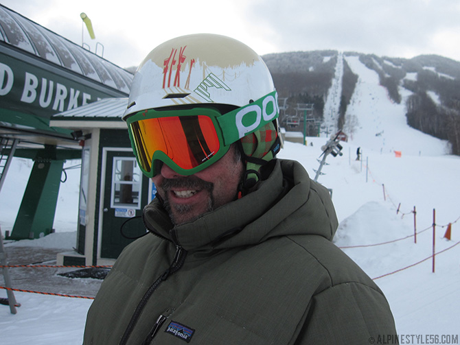 pj dewey owner racestock sports ski shred helmet slope side