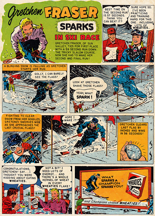 gretchen frasier ski champion wheaties cereal ad advertisement 1953