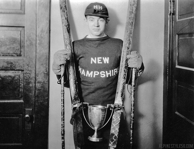 vintage photo ski jump jumper new hampshire trophy win winner