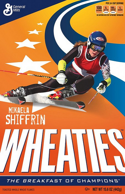 wheaties cereal box mikaela shiffrin ski racer olympic gold medal