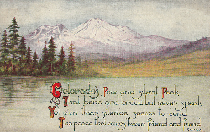 colorado vintage postcard poem cavalry mountain pine peak friend