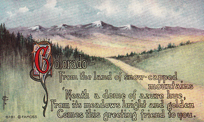 colorado vintage postcard poem famoss