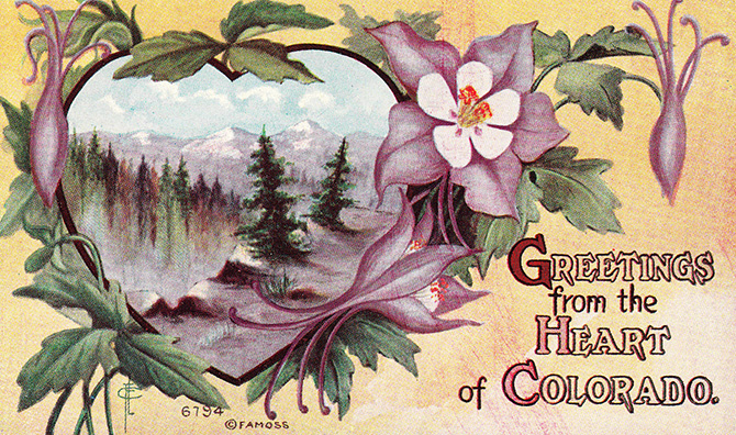 colorado vintage postcard greetings heart famous