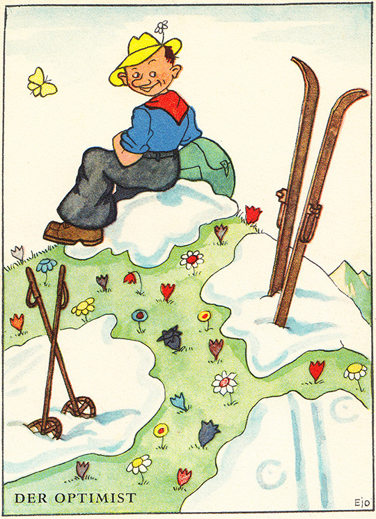 der optimist spring skiing vintage postcard swiss switzerland