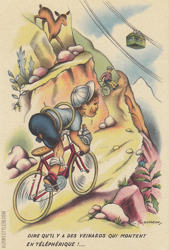 france vintage velo bicycle mountain tram postcard gougeon