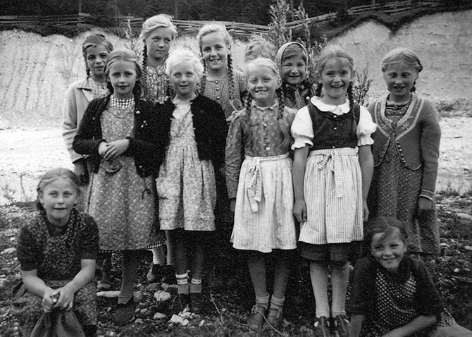 children girls tirol austria tracht vintage photo