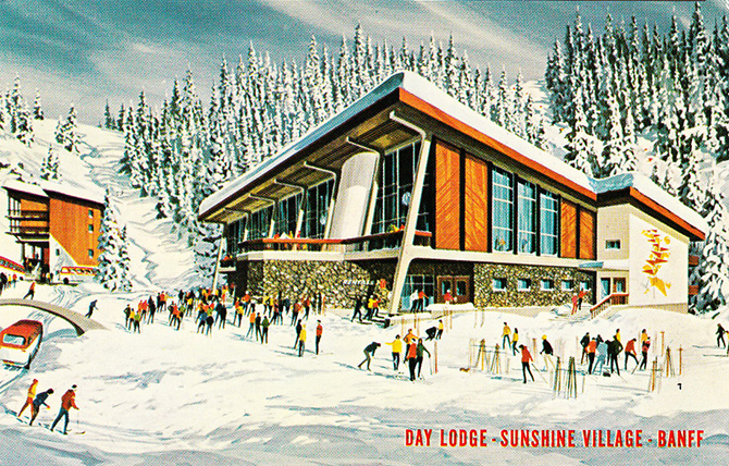 banff alberta sunshine village ski lodge vintage