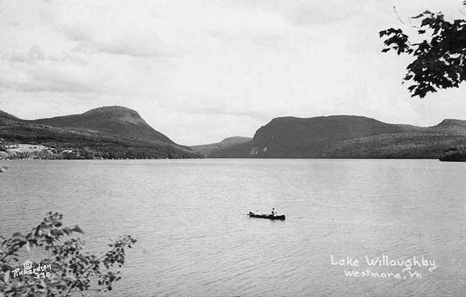 lake willoughby vermont canoe vintage postcard richardson