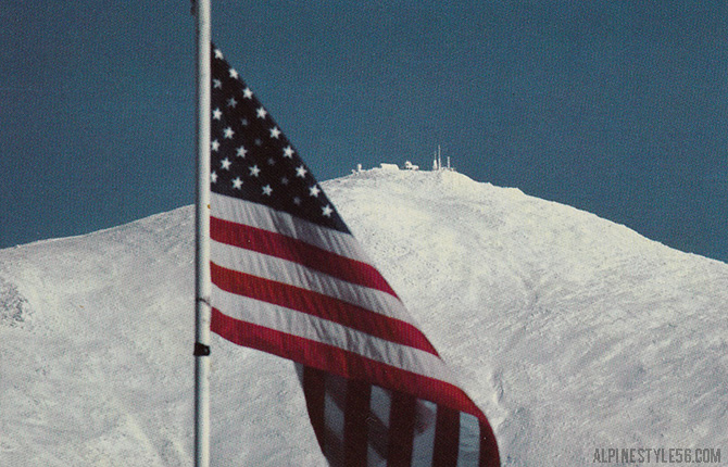 mount washington observatory new hampshire american flag