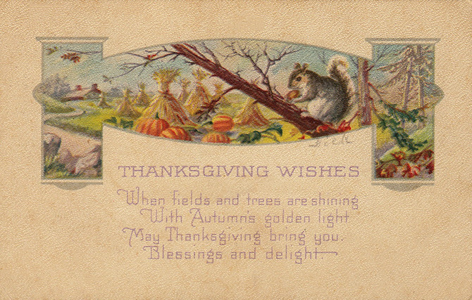 thanksgiving wishes squirrel vintage postcard
