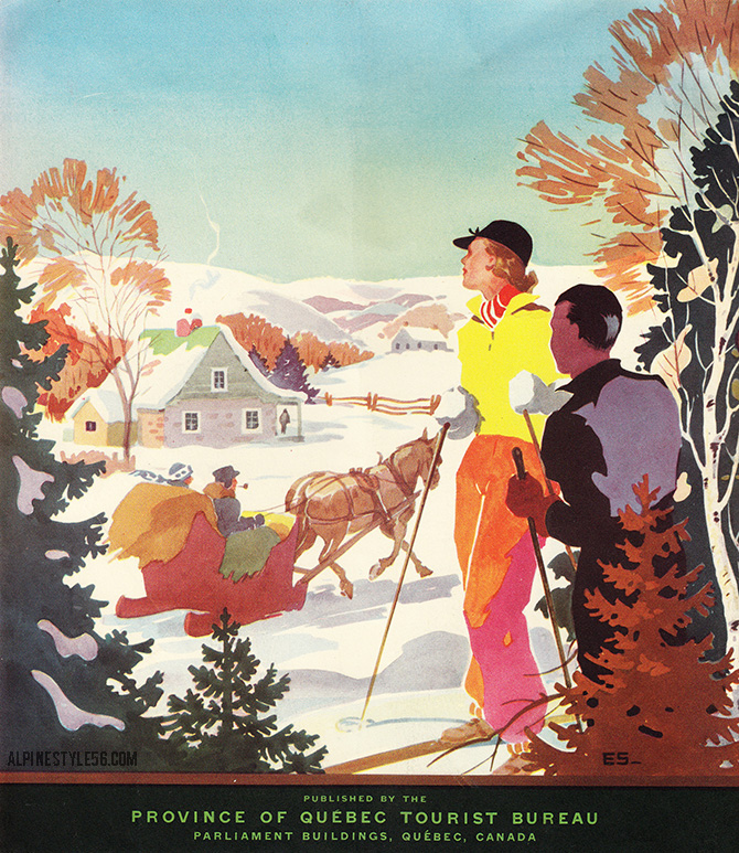 quebec canada ski vintage brochure travel