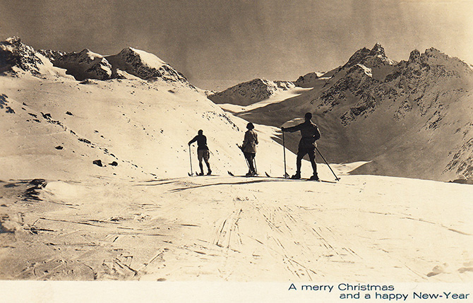 christmas new year skiers ski 1923 photo