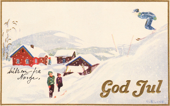 norway christmas greeting vintage god jul ski