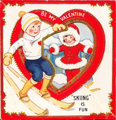 vintage valentine ski skiing is fun