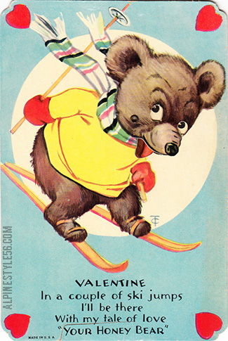 vintage valentine honey bear ski skiing jumps