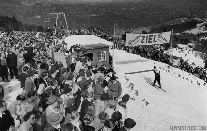 vintage photo ski race garmisch partenkirchen kandahar ziel