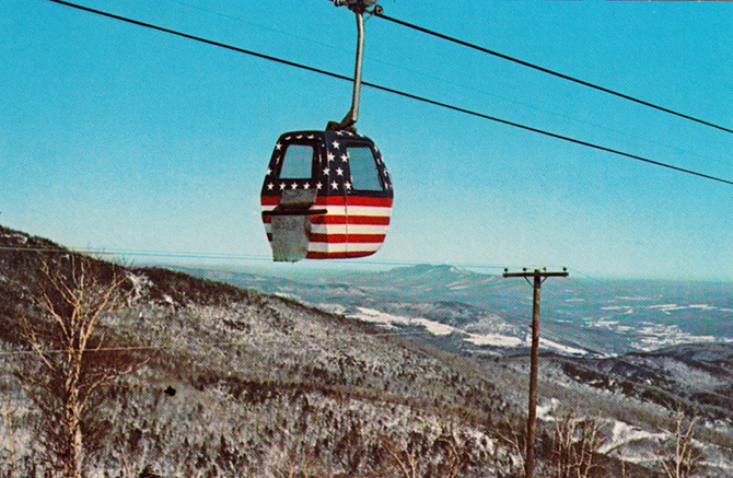 sugarbush vermont vintage gondola ski lift patriotic flag stars stripes