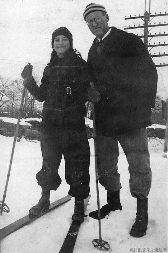 father dad daughter kid skis vintage photo