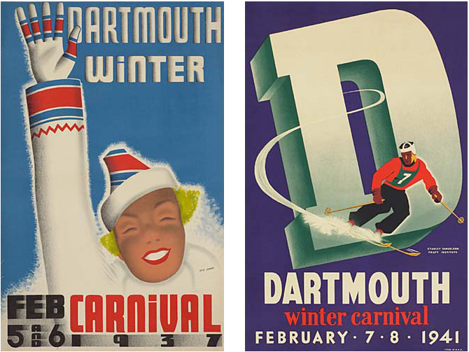 dartmouth winter carnival vintage ski poster 1937 1941