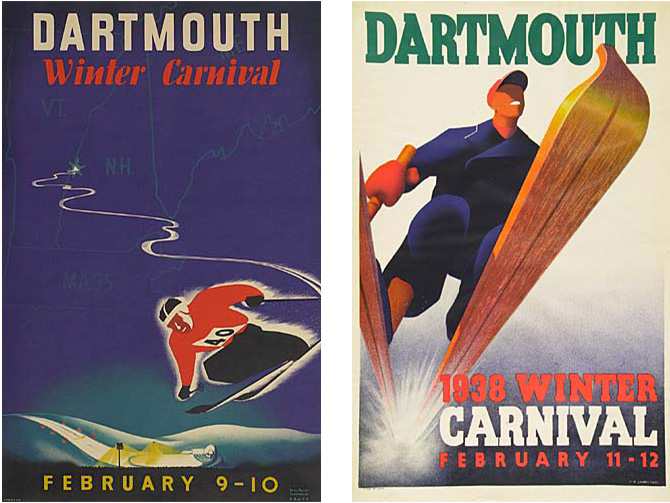 dartmouth winter carnival vintage ski poster art 1938