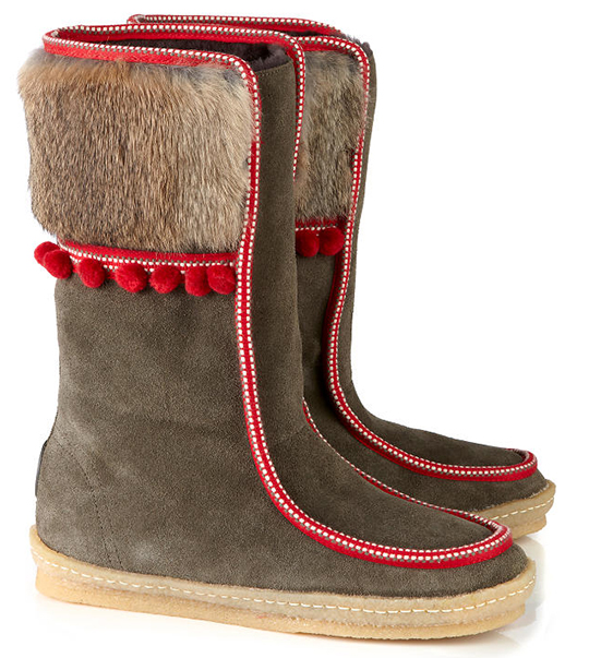 tory burch leland boot winter 2014 pares ski fur pom pons