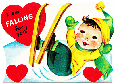 vintage valenting ski skier boy falling for you