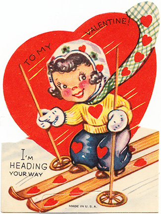 vintage valentine ski girl heading your way heart