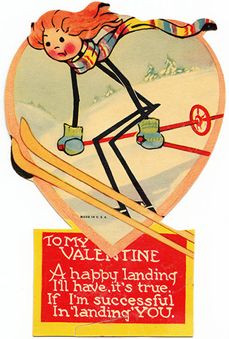 vintage valentine stick person ski skier