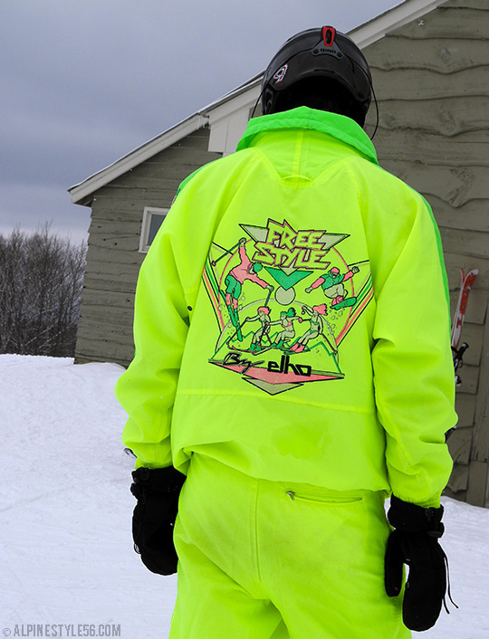 vintage ski suit elho freestyle neon yellow green